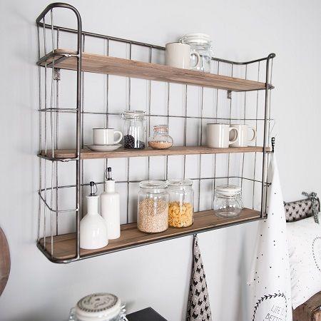 Bakkersrek metaal met houten planken plaats je er gemakkelijk bij in de keuken woon of - Houten keuken en metaal ...