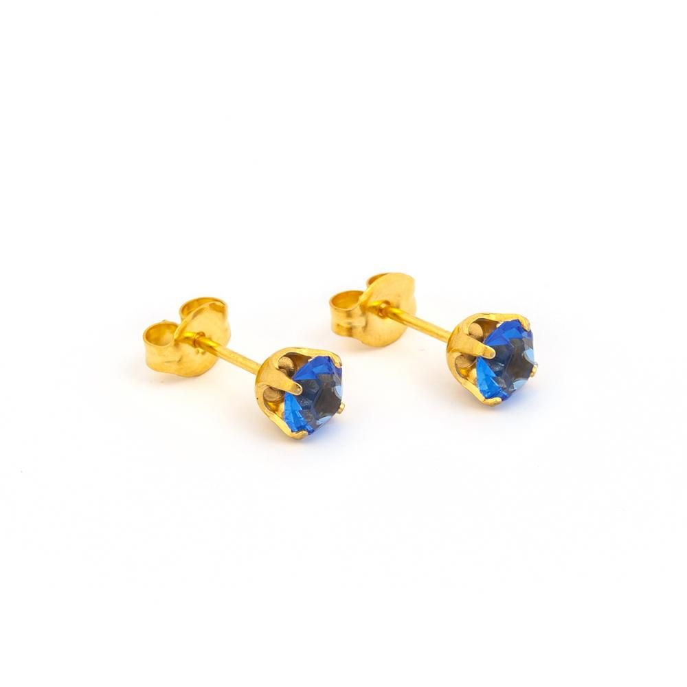 7153ec88e Nickel allergy safe - Sapphire Sparkle Post Earrings – Athena Allergy, Inc.  Sparkling blue sapphires are enhanced with the gold-plated settings, ...