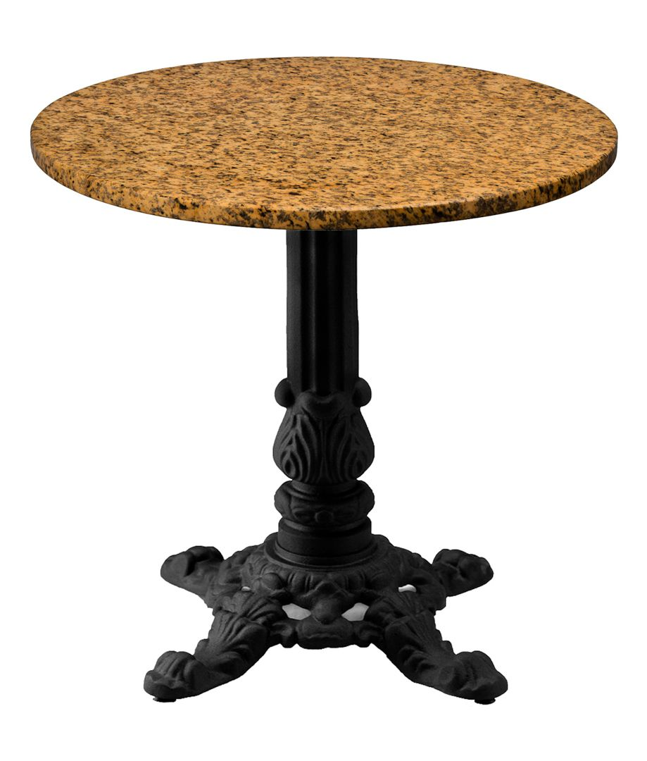 Our J24 Cast Iron Table Base Used Under A Granite Table Top