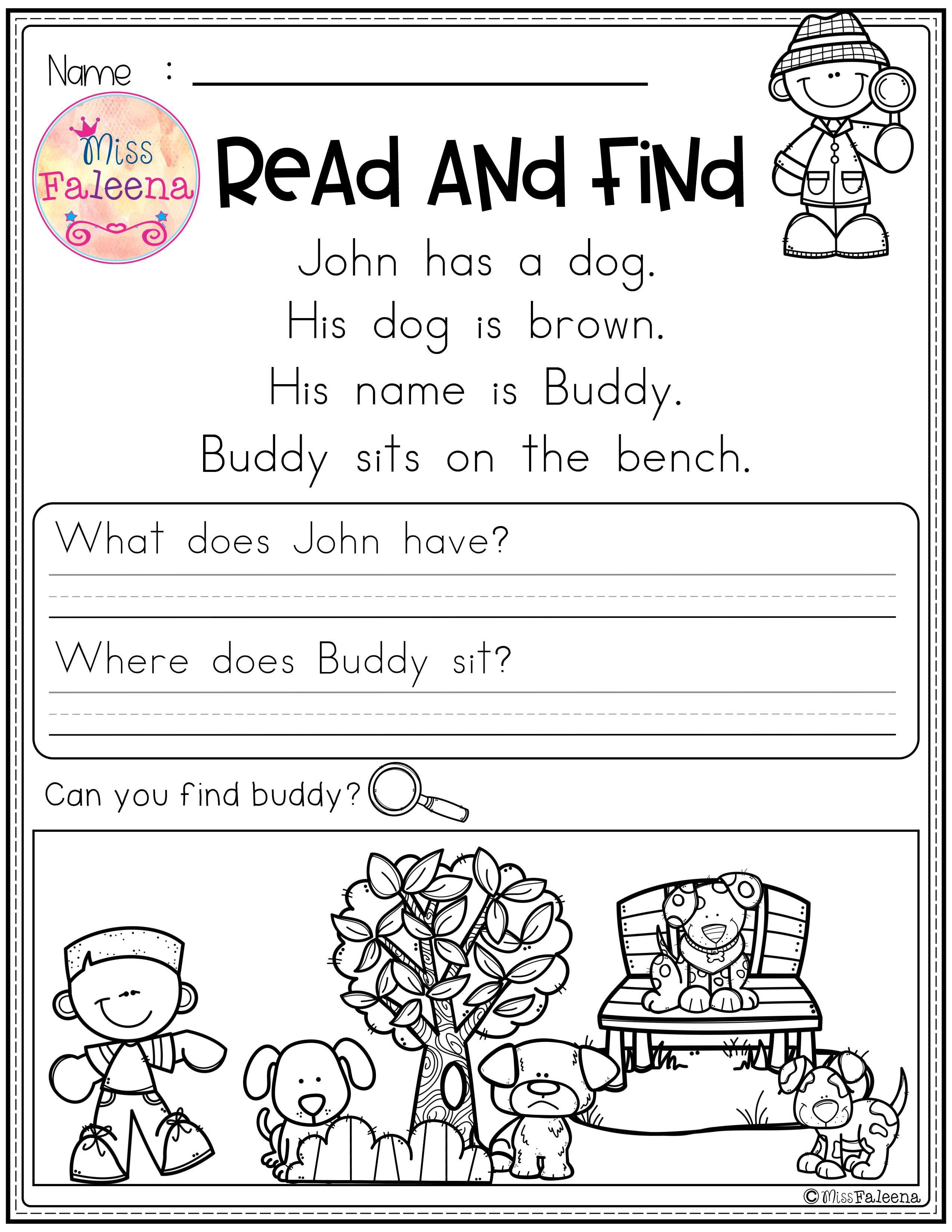 Free Reading Comprehension Read And Find There Are 3 Pages Of Reading Comprehens Reading Comprehension Reading Comprehension Worksheets Kindergarten Reading