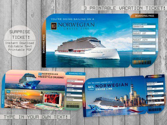 Norwegian Cruise Printable Ticket Boarding Pass Editable File Ncl