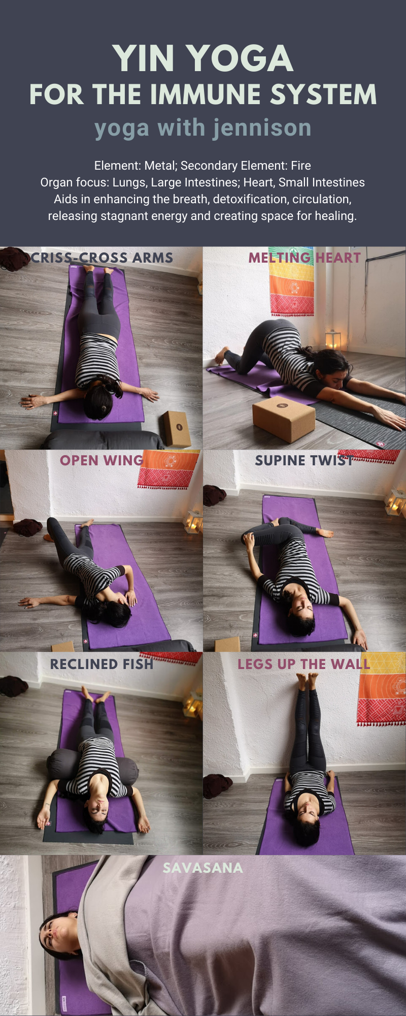 Yin Yoga For The Immune System Yoga With Jennison 60 Minute Sequence Design For Immune System Support Focus On The In 2020 Yin Yoga Yin Yoga Poses Yin Yoga Sequence