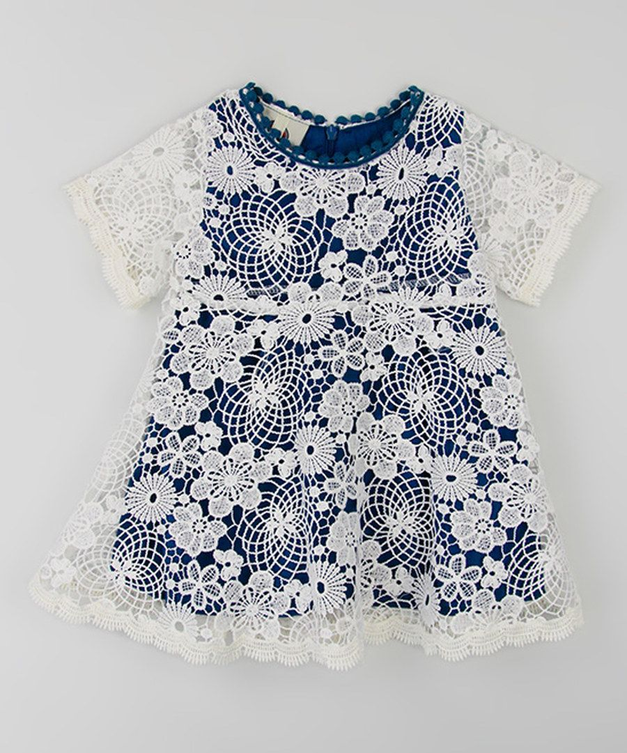 Look at this Blue & White Floral Lace Dress on #zulily today!