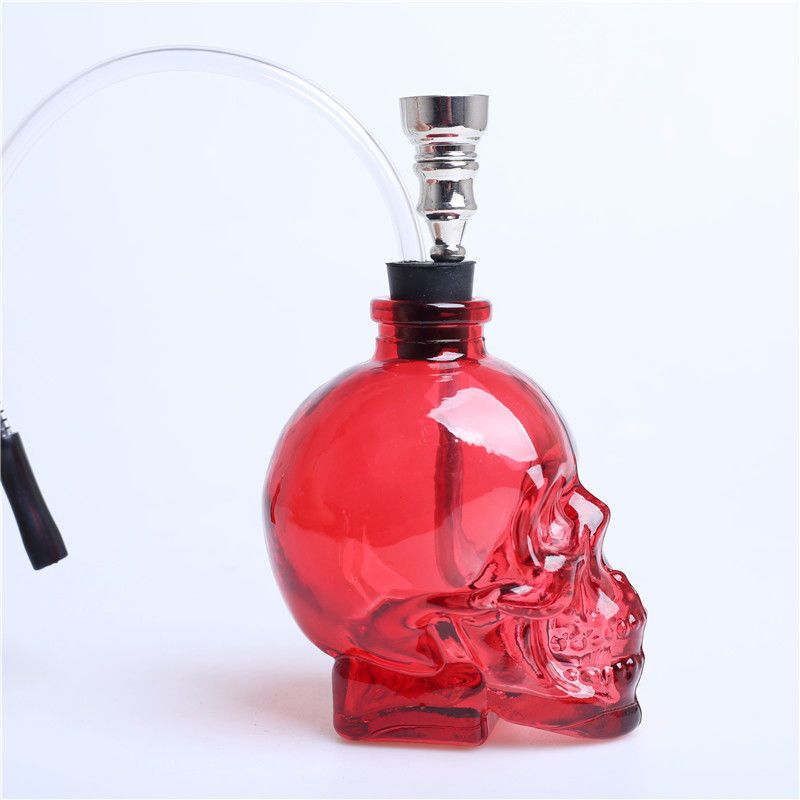 3.4/'/'H Glass Bong Water Smoking Hookah Skull Shape Hookah Bubbler Pipes Blue