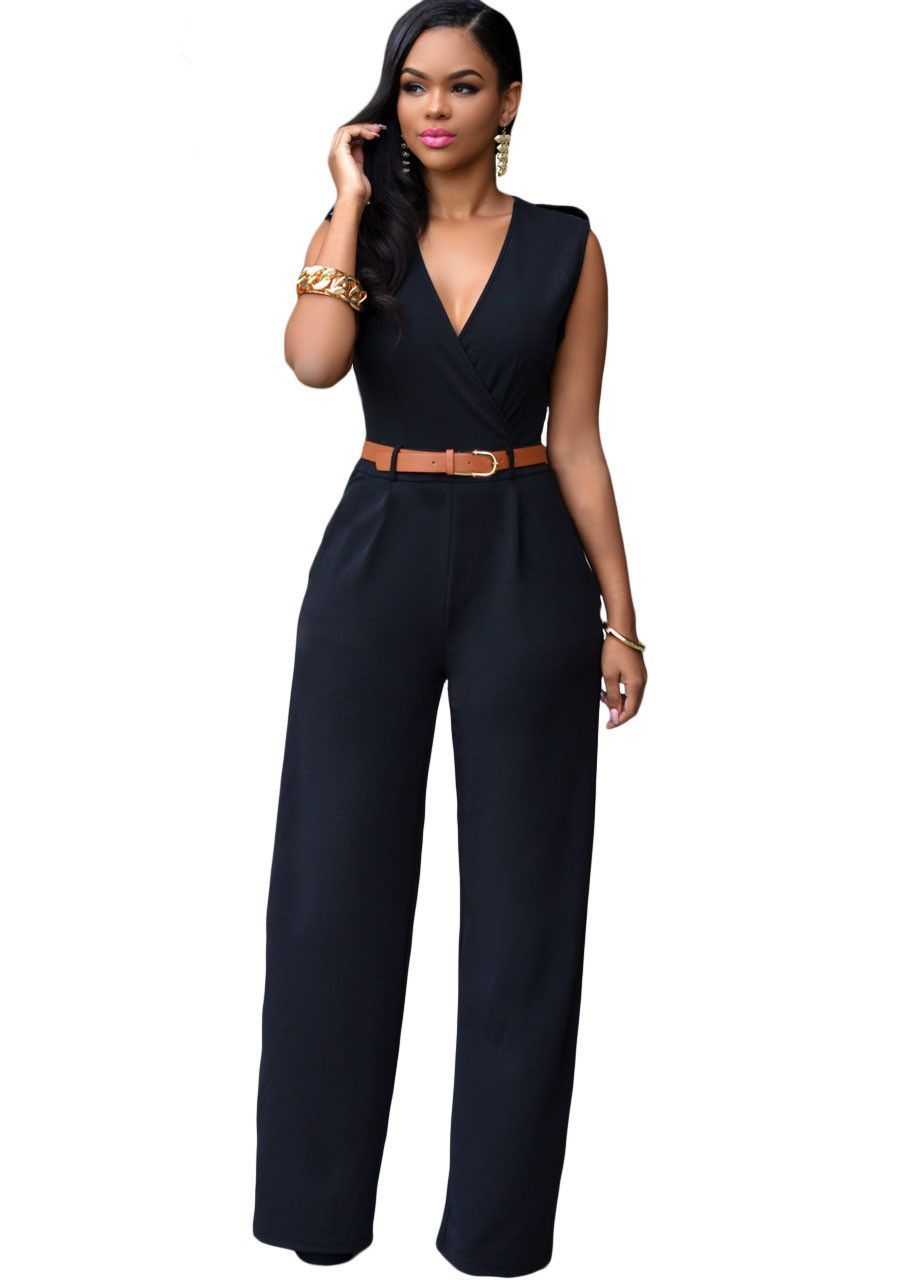 zkess jumpsuit long pants women rompers sleeveless 2xl v. Black Bedroom Furniture Sets. Home Design Ideas