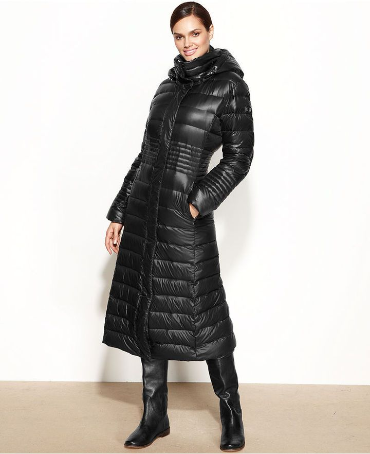 Calvin Klein Coat Hooded Down Puffer Maxi Daunenmantel Langer Mantel Bekleidung