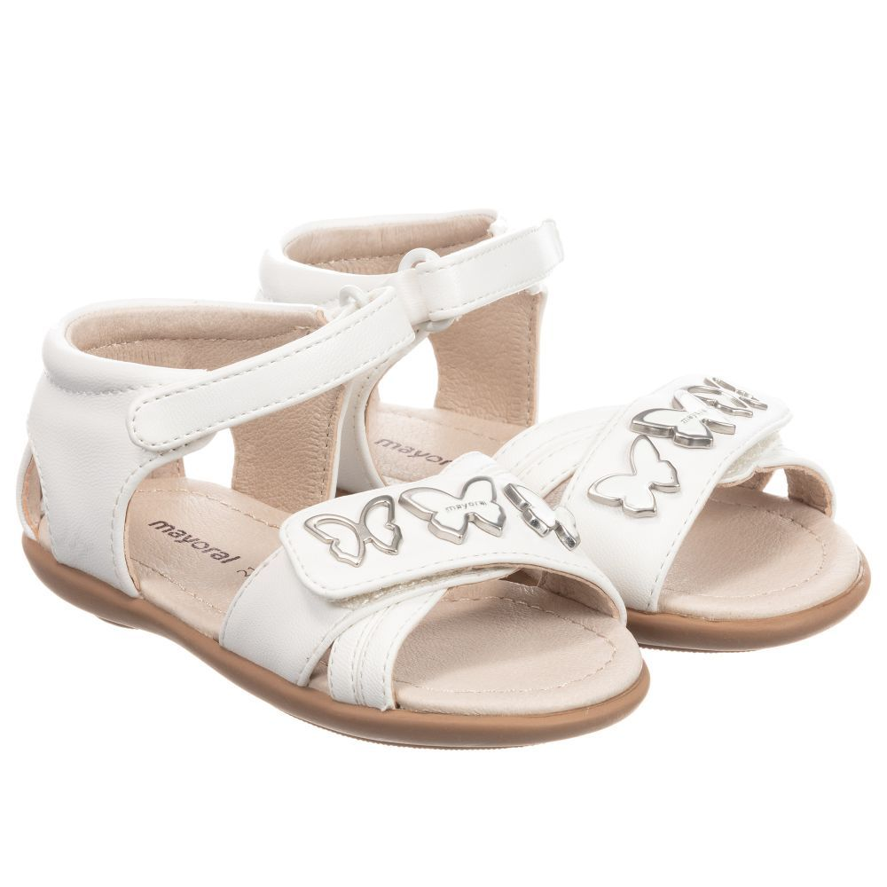 121bd2878678 brand Girls Faux Leather Sandals at Childrensalon.com Velcro Straps