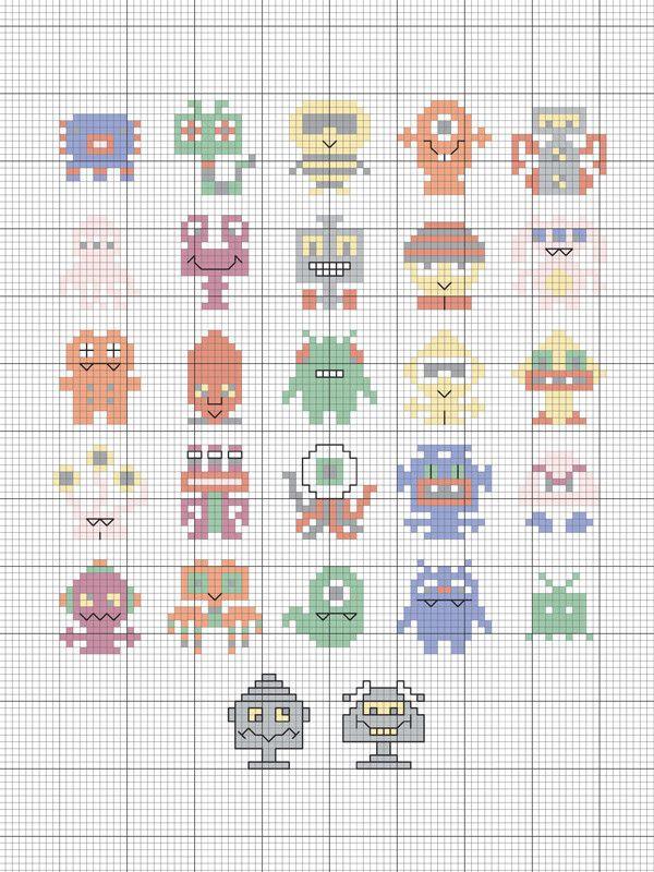 Tiny little aliens free cross stitch pattern