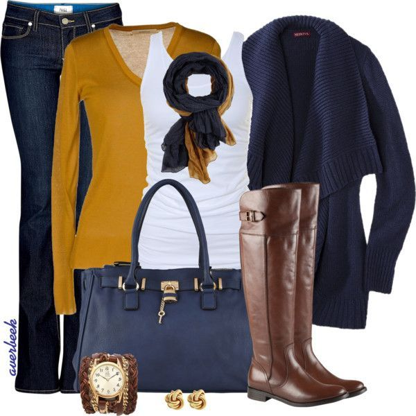 Love this outfit with Navy and Goldenrod! Love the tall brown riding boots, too!