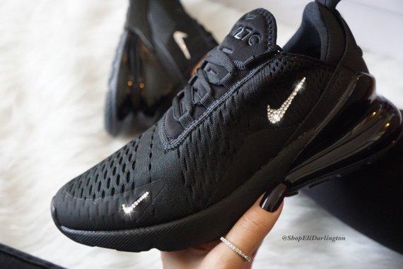 Swarovski Nike Air Max 270 All Black Sneakers in Silver