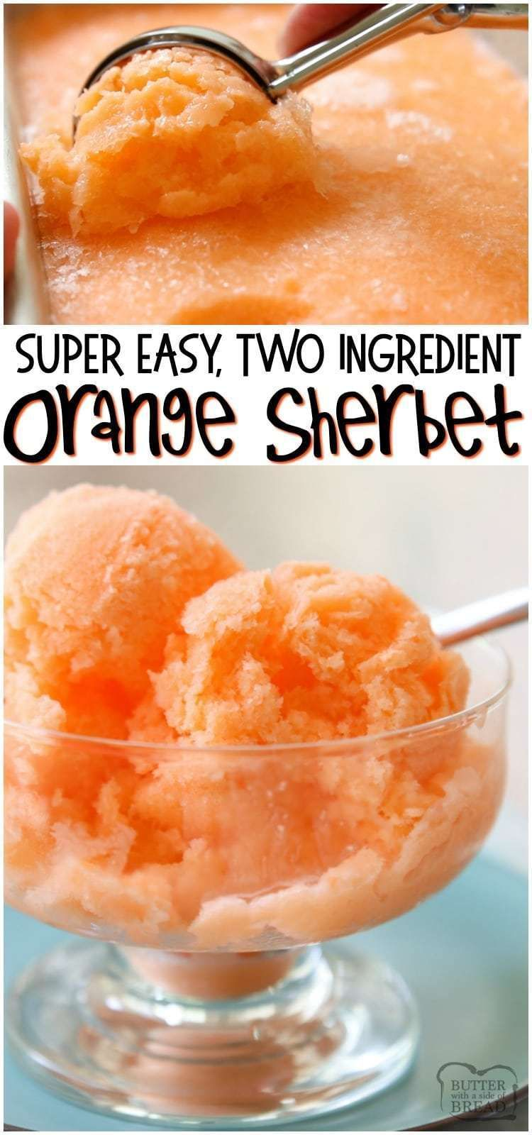 Quick & Easy Orange Sherbet recipe made with just 2 ingredients! Sweet Orange Sherbet perfect for a hot summer day  is part of Frozen treats recipes -