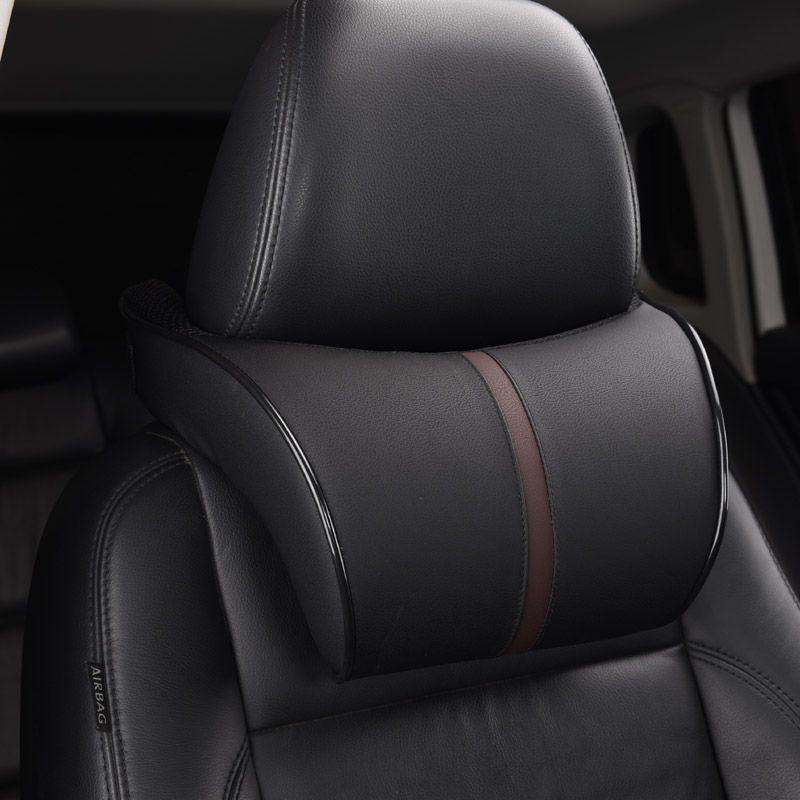 Black Memory Foam Car Headrest Pillow Support Adjustable Protect Cervical Spine