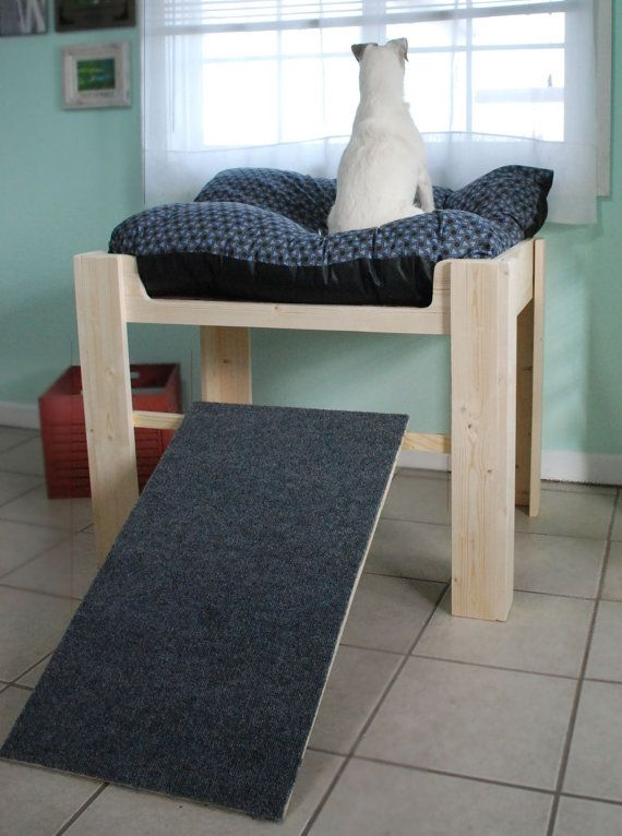 Wood Raised Elevated Dog Bed Furniture With Ramp By
