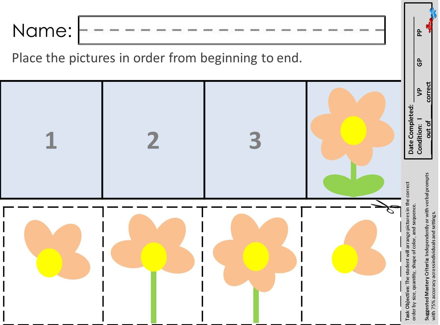 Finally An Easy Way To Practice Seriation Skills Find These And Other Great Printables At Autism Autism Teaching Speech Therapy Worksheets Autism Worksheets