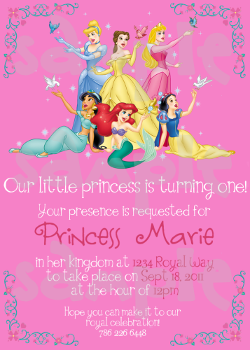 Disney Princess Birthday Invitation Birthday ideas for Kaelyn
