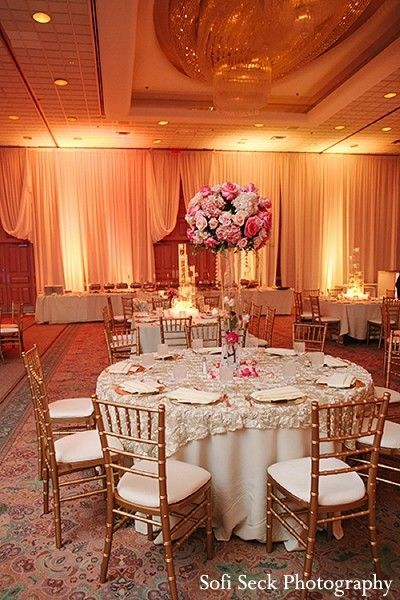 Flowers Romantic Pink White Gold Indian Wedding Reception