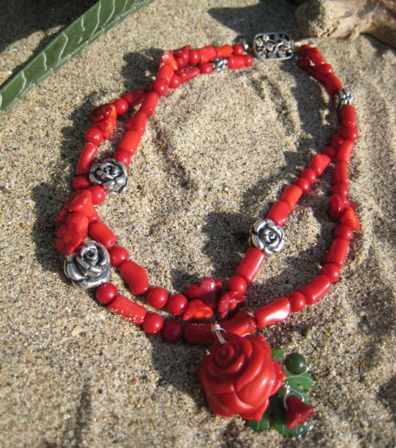 """Red Coral """"Rose of Sharon"""" Necklace - Salt & Light by Lori Delisle"""