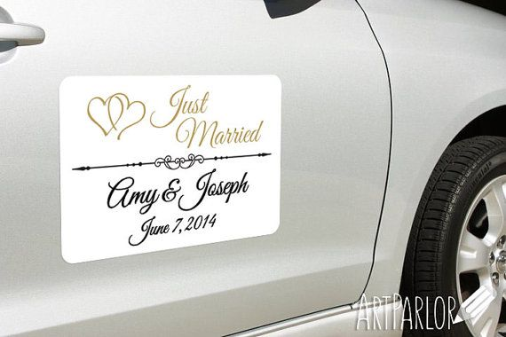 Wedding Car Magnet Just Married 18 X12 White