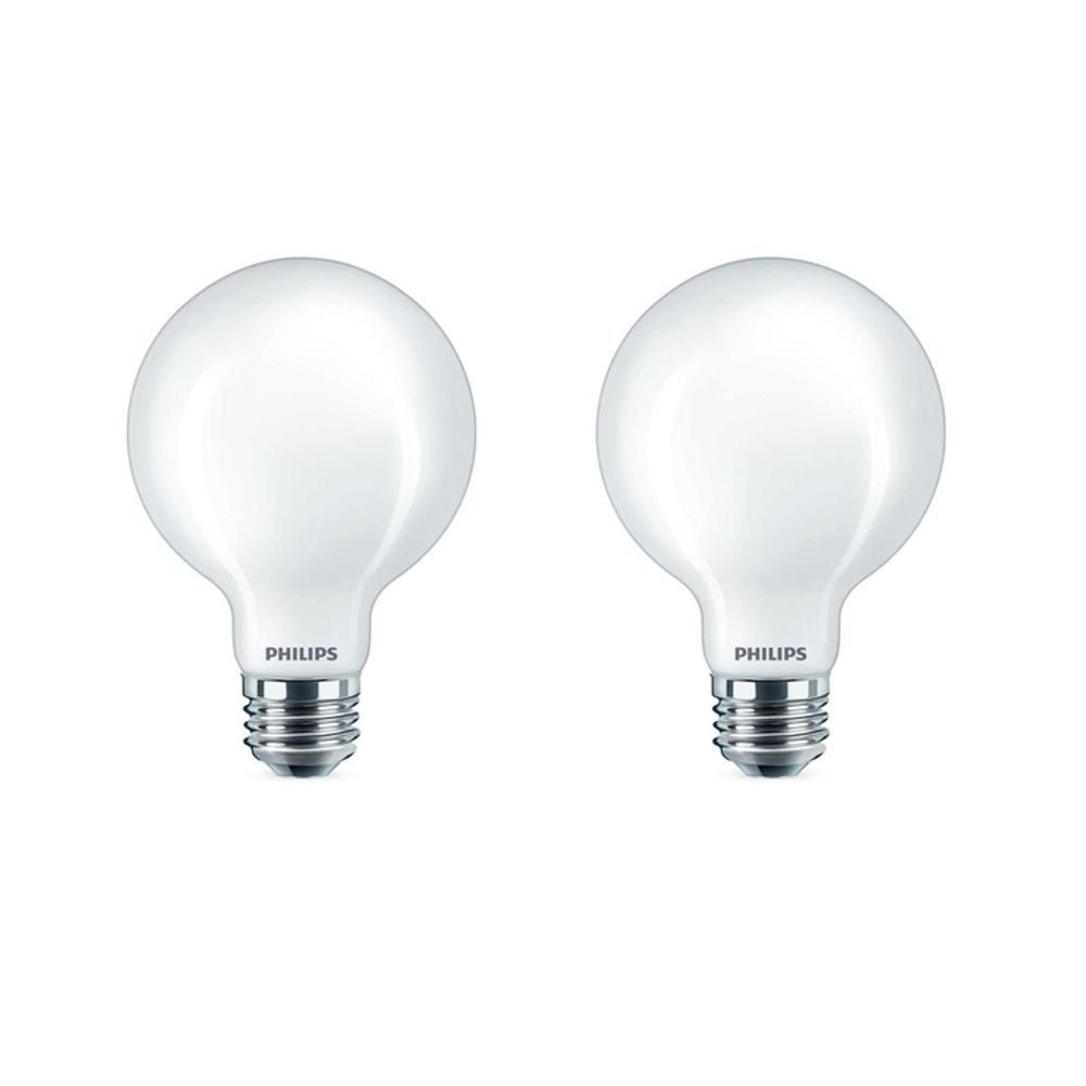 Philips 60 Watt Equivalent G25 Dimmable Led Light Bulb Soft White Frosted Globe 2 Pack 477687 The Home Depot Dimmable Led Lights Dimmable Led Led Bulb
