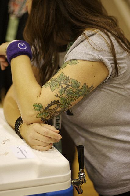 Another hop vine tattoo, this time in color.