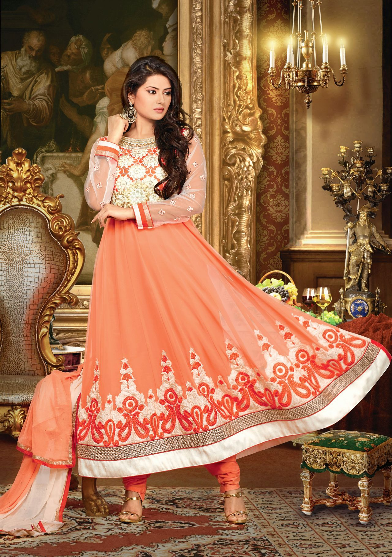 Usd kritika sengar peach embroidered long anarkali suit