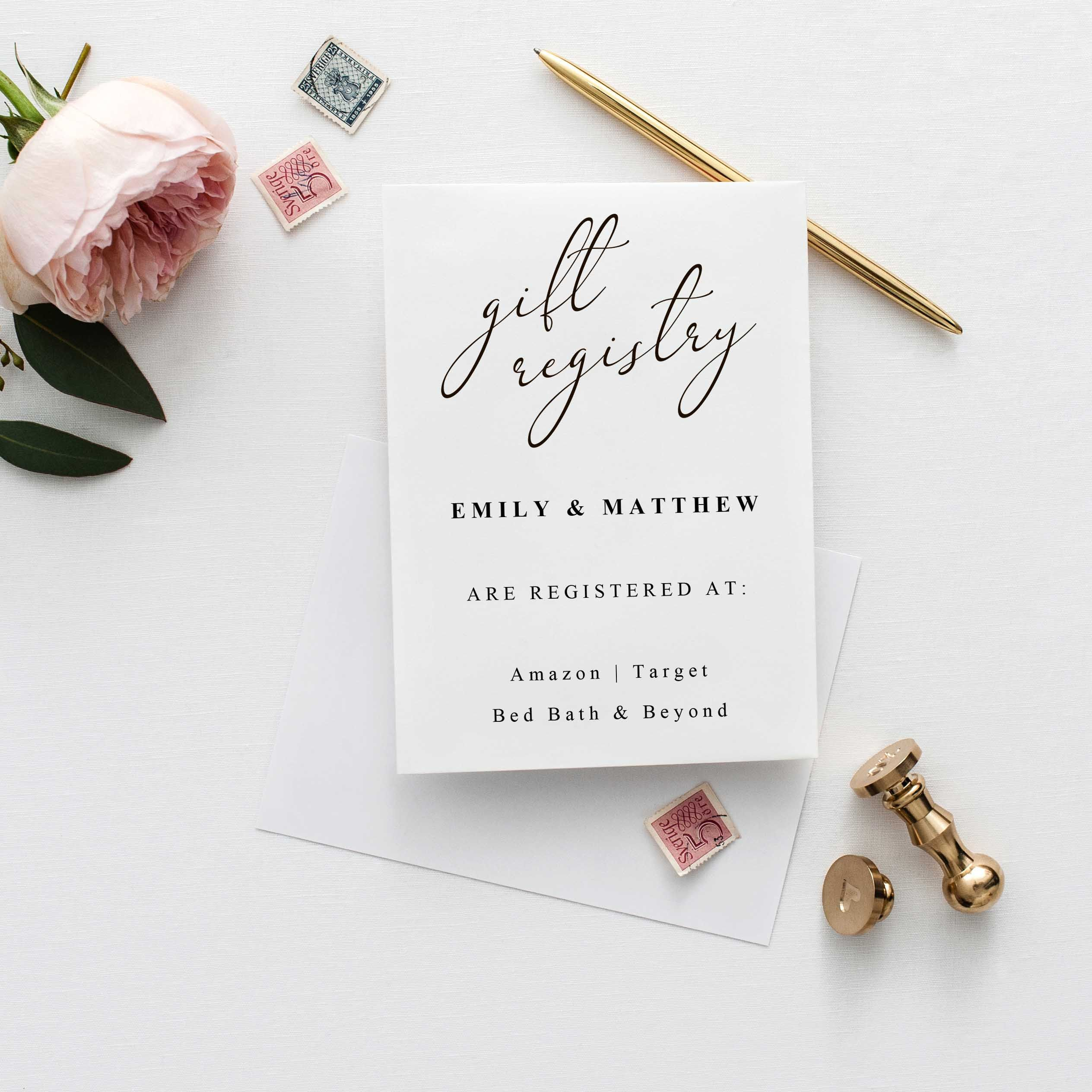 Registry card Wedding Registry Card Template Instant