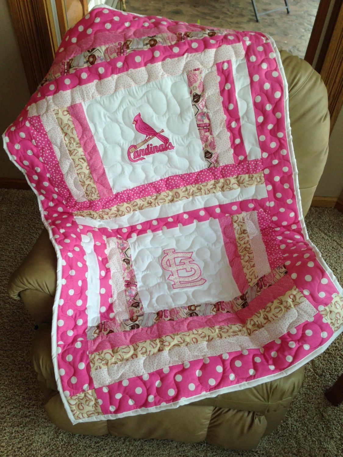Pink And White St Louis Cardinals Baby Girl By Sewsosweetdesigns 13500