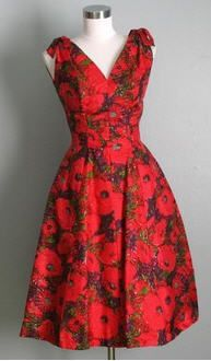 vintage . 1950s . PRIMROSE . red . floral . party . dress ...