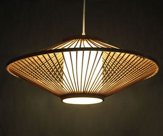 Creative Bamboo and Parchment Pendant Lamp 110-240V One ...