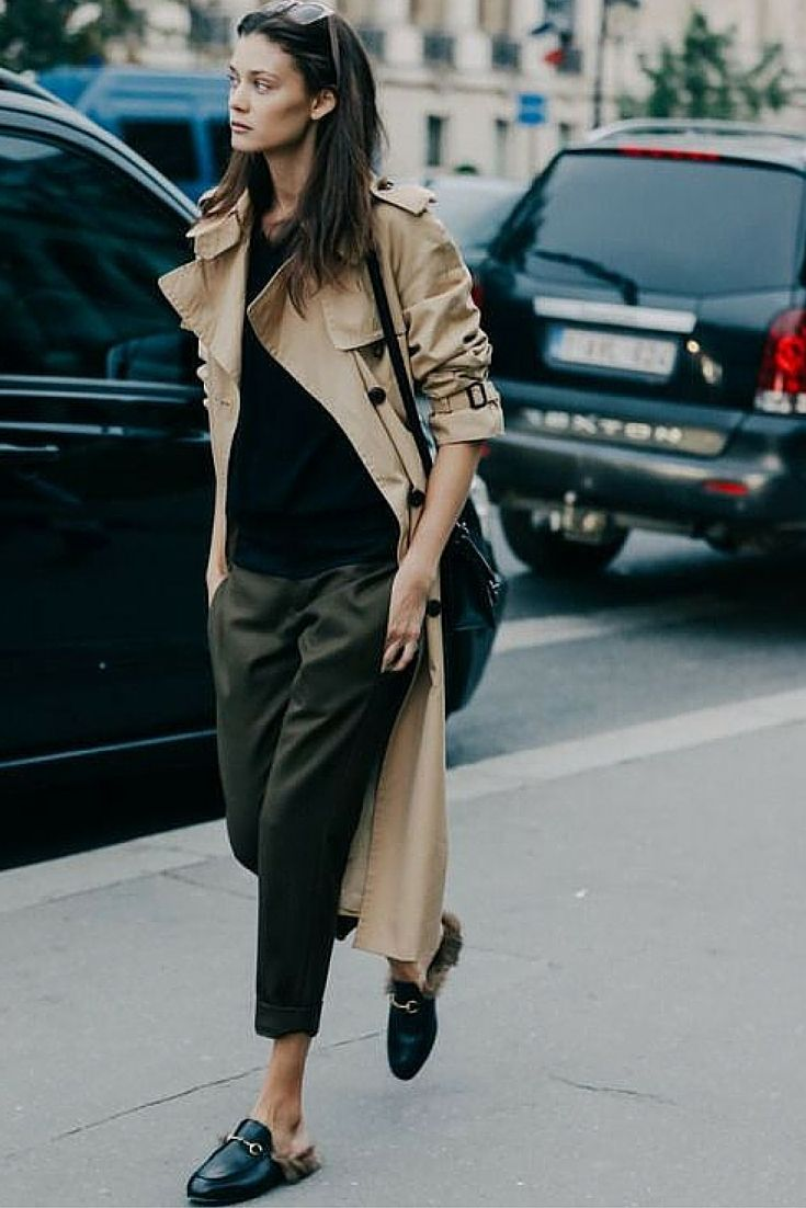 sneakers and pearls, street style, office wear with a twist, khaki cropped  pants with Gucci black flat mules, long camel trenchcoat, trending now.jpg