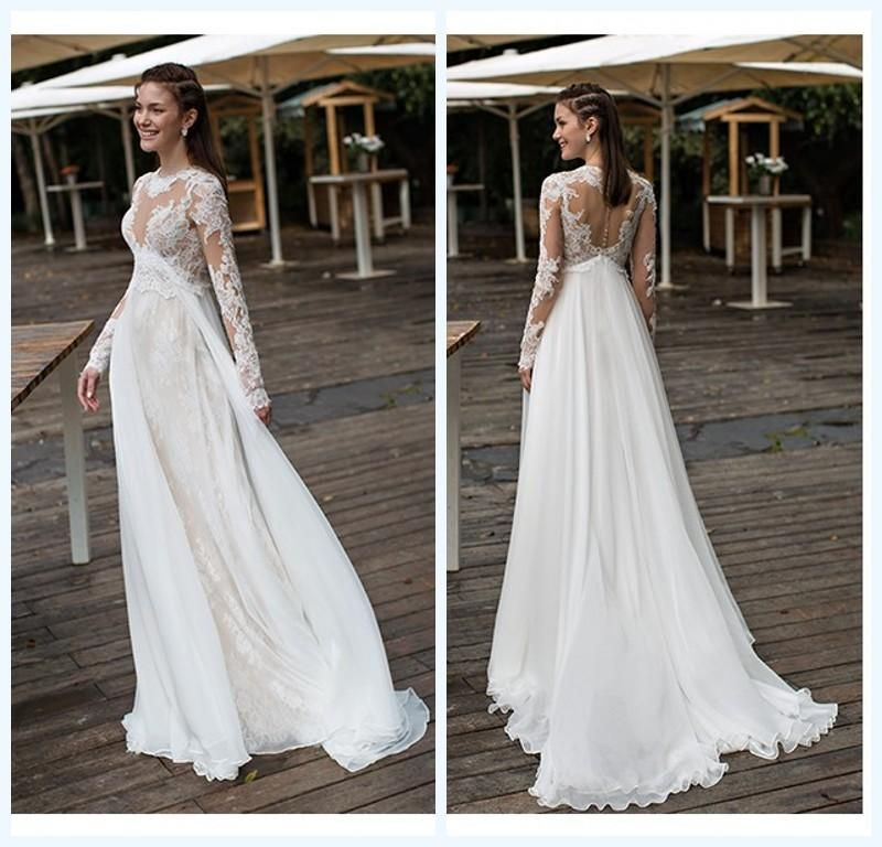 e889d6ad338 Empire Maternity Wedding Dresses Lace And Chiffon Long Sleeves Beach Bridal  Gowns 2016 Plus Size Covered Button Wedding Gowns 2015 Bridal Wedding Dress  ...