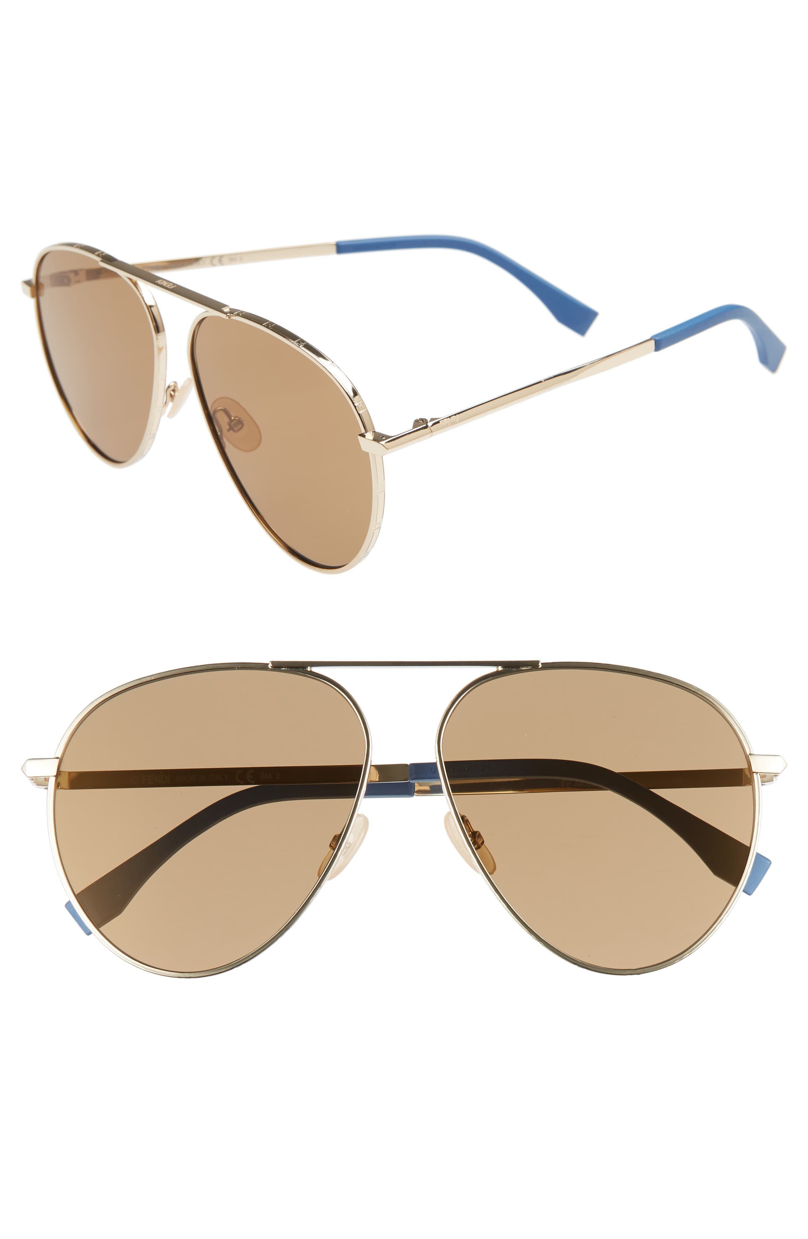 Fendi 61mm Gold 2019Products Men's Sunglasses Aviator In SzpUMqVG