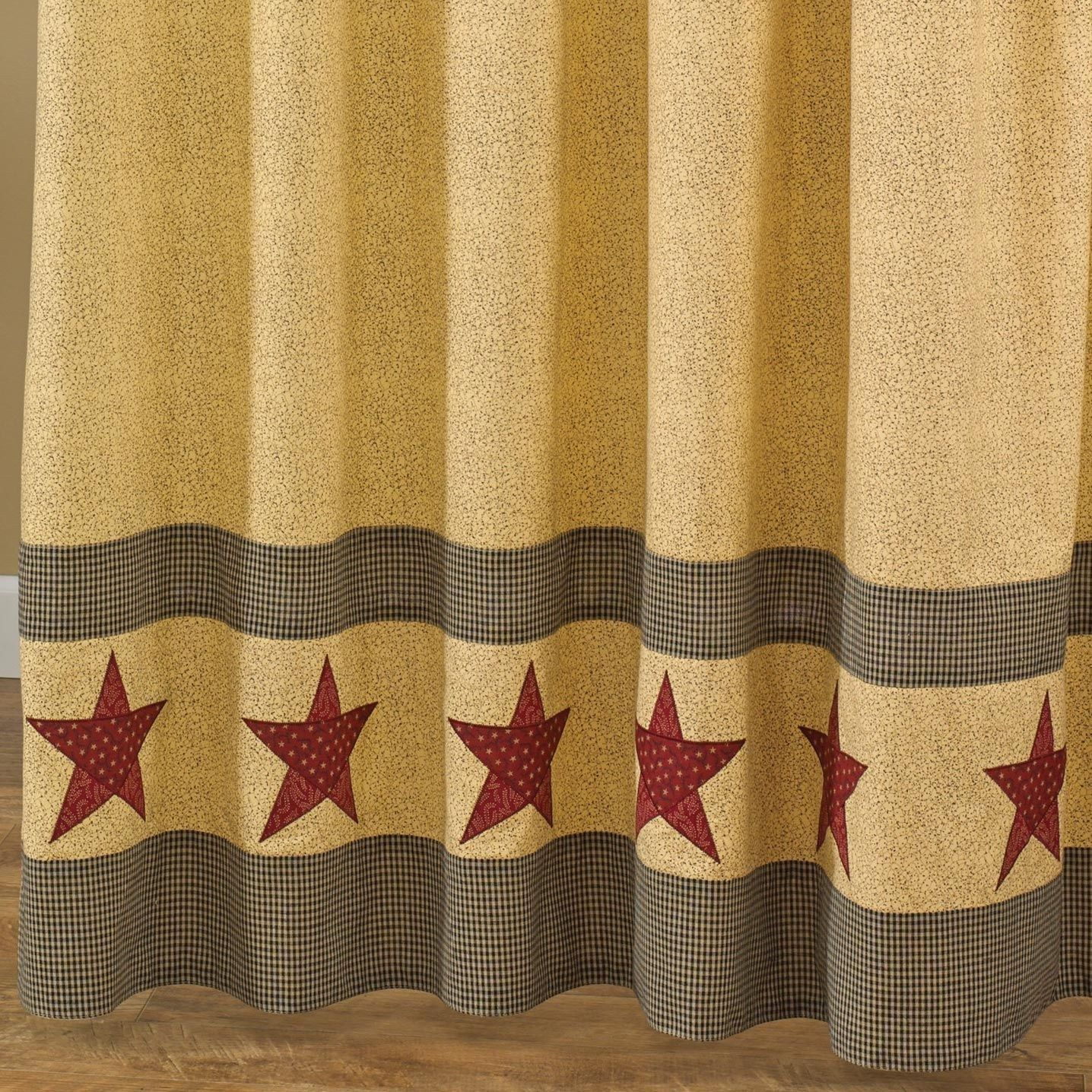 Unique Americana Shower Curtain Primitive Curtains Tree Hooks