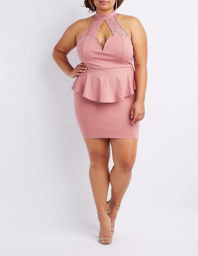 Charlotte Russe Plus Size Lace-Trim Peplum Bodycon Dress