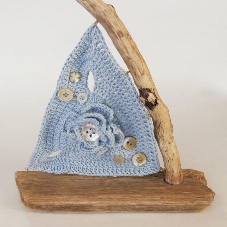 Summer Sky Blue Crochet Driftwood Boat with Vintage Mother of Pearl Buttons 01 by JayBird Art