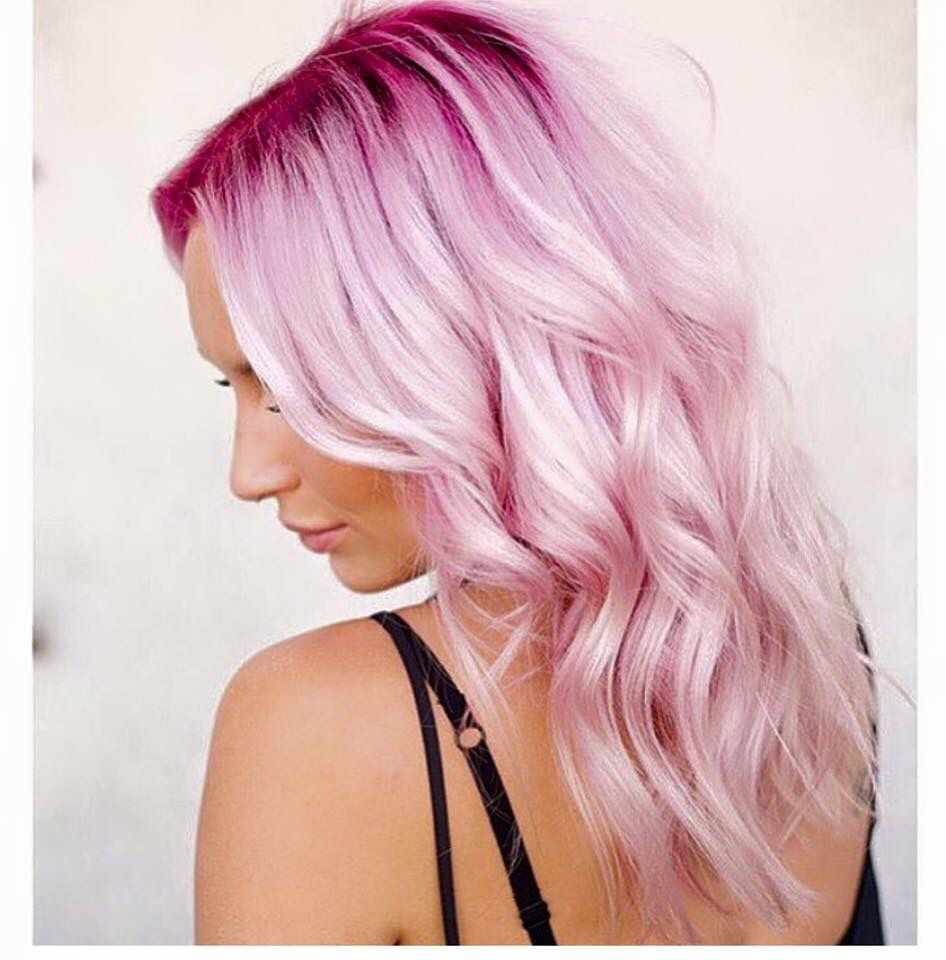 Candy Floss Pink Dark Roots Light Pink Hair Cotton Candy Hair Pink Ombre Hair