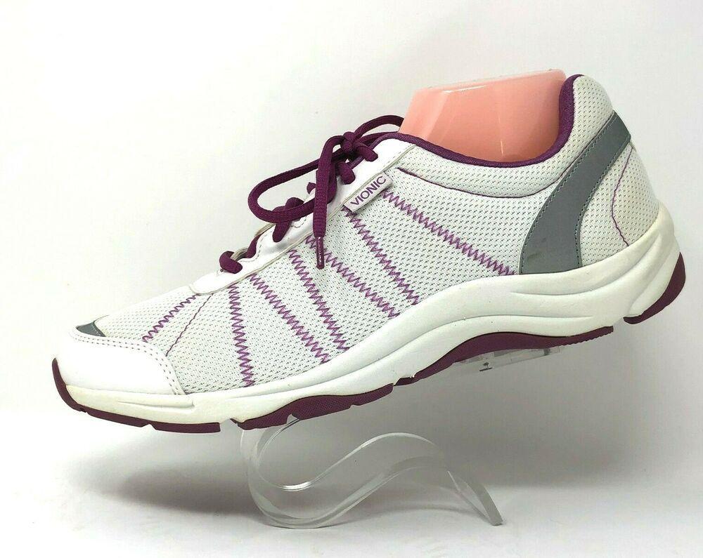 Vionic Womens Alliance White Purple Comfort Lace Up