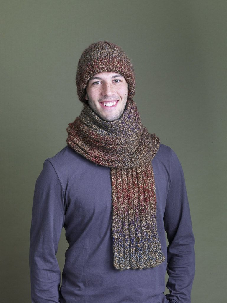 Ramstar Falls Hat And Scarf in Lion Brand Homespun - 90333AD ...