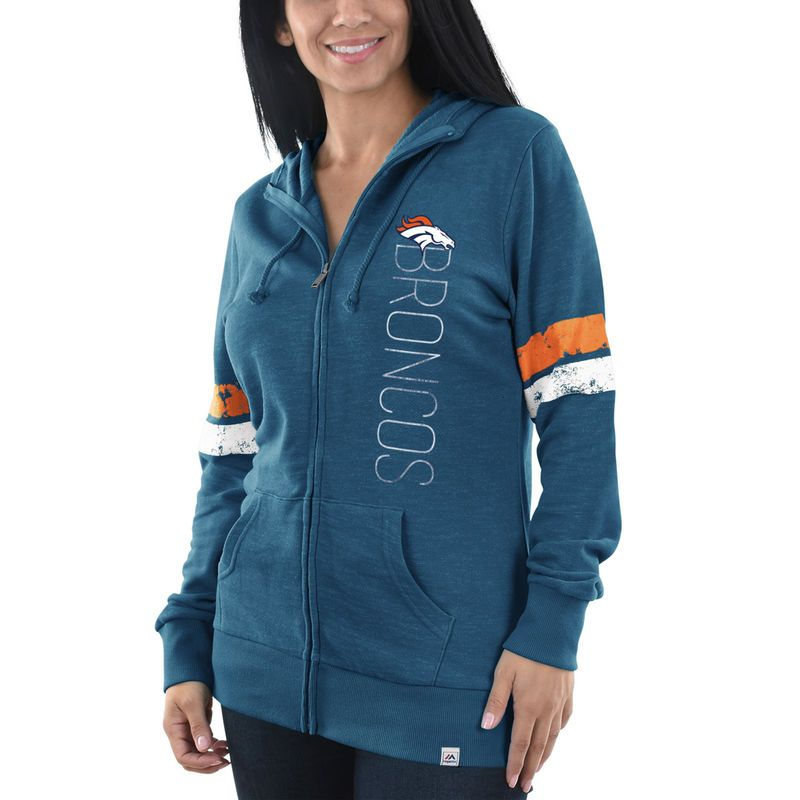 Denver Broncos Majestic Women s Athletic Tradition Full-Zip Hoodie -  Heathered Navy 159d29b0a