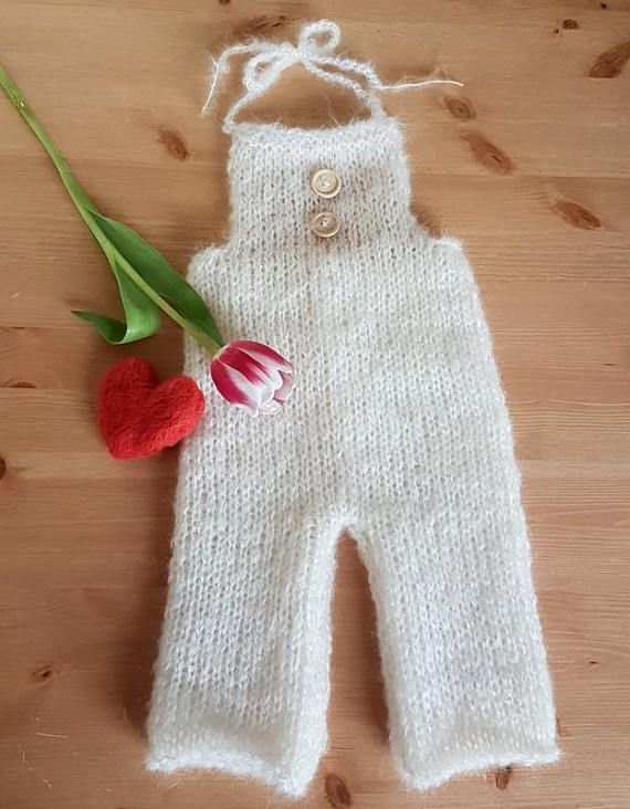 Knitted baby dungaree with 3/4 length legs, Romper in any color of ...