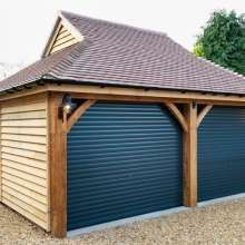 Double Fronted Wooden Garage With Room Above Timber Garage Timber Buildings Garages