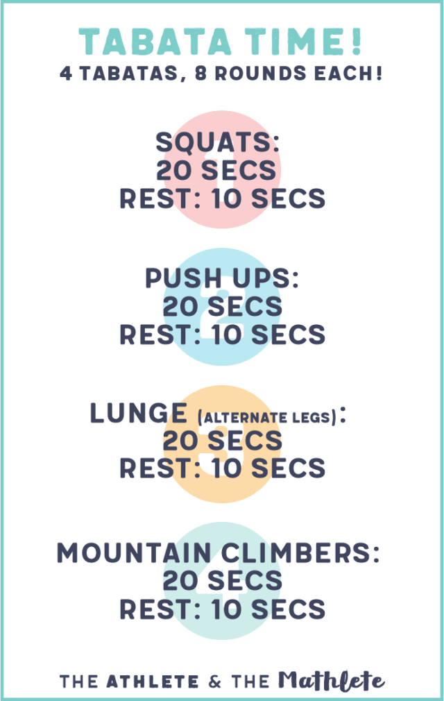 Tabata training involves short bursts of 100% work followed by very short periods of rest. Learn about Tabata training or save this workout for later!