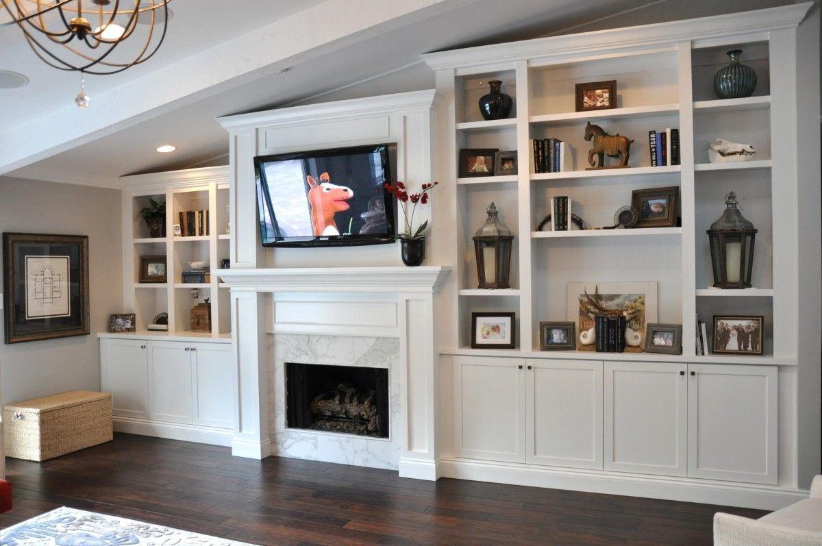 Image Result For Offset Fireplace Vaulted Ceiling Built Ins Bookshelves Built In Built In Cabinets Built In Bookcase