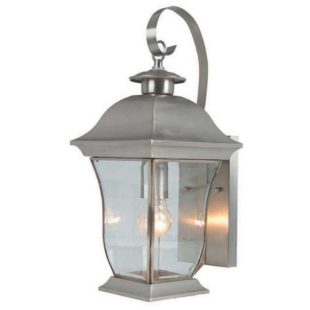 Bel Air Lighting Wall Flower 1 Light Brushed Nickel Outdoor Coach Lantern Sconce With Clear Glass 4970 Bn The Home Depot Bel Air Lighting Outdoor Light Fixtures Trans Globe Lighting