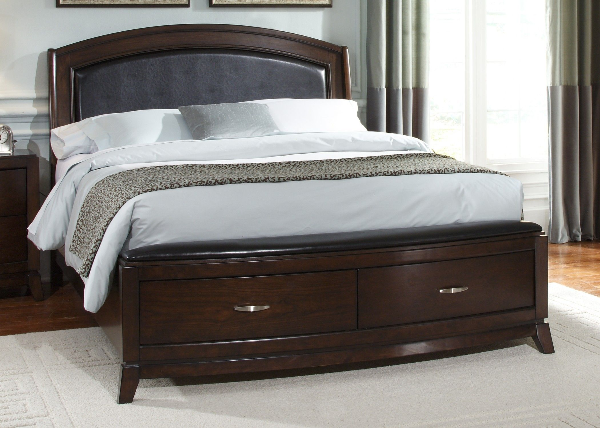 Elegant Dark Wood Bed Frame For Main Bedroom Furniture Is