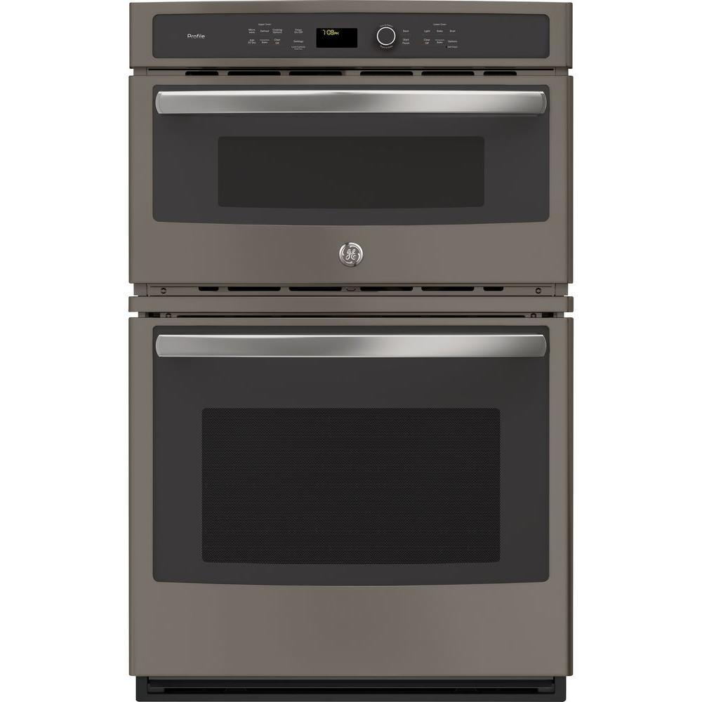 Ge Profile 27 In Double Electric Wall Oven With Convection Self Cleaning And Built In Microwave In Slate Pk7800ekes Electric Wall Oven Wall Oven Single Wall Oven