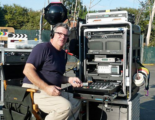 Joe foglia with his location sound rig with lectrosonics for Sound designer jobs