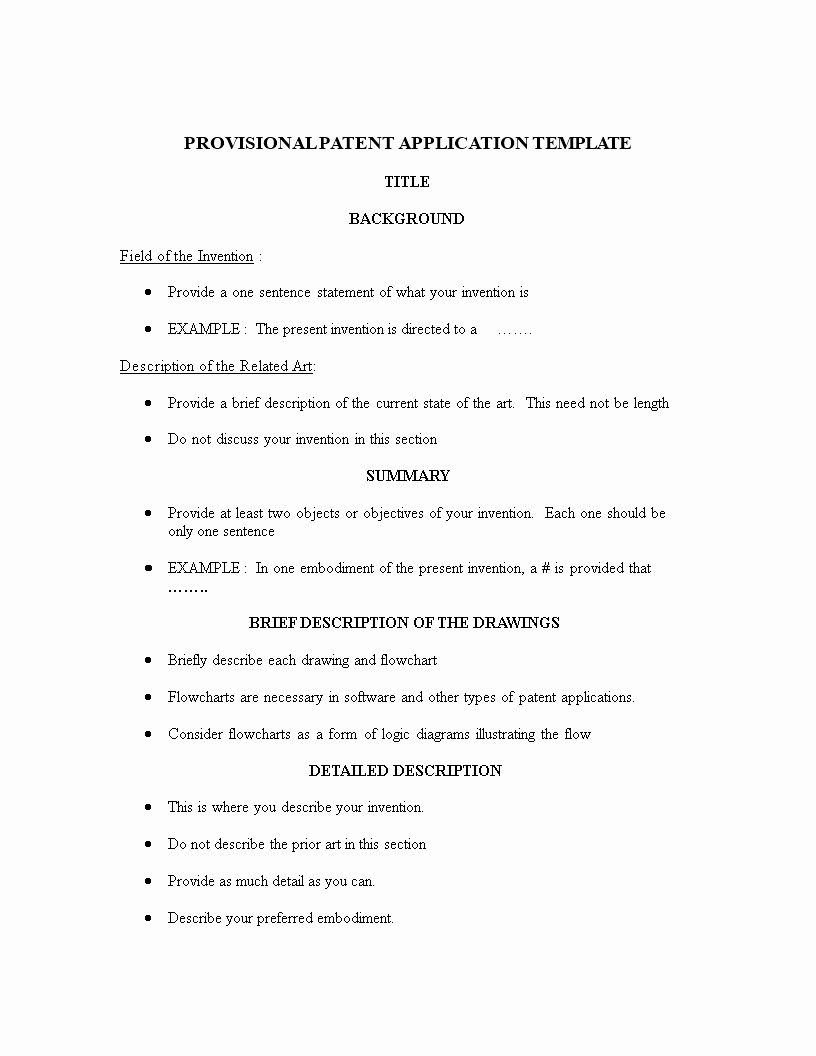 Provisional Patent Application Form Fresh Provisional Patent Application Example Provisional Patent Application Patent Application Application Form