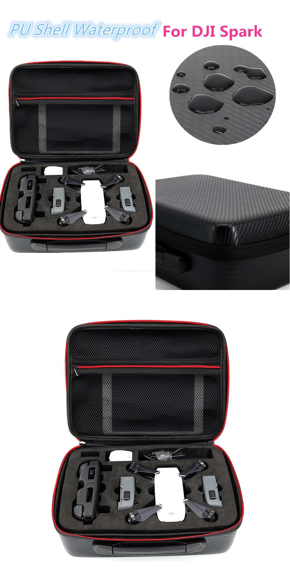 HOBBYINRC For DJI Spark Drone Bag PU Shell Waterproof Storage Carry Case Handbag Box