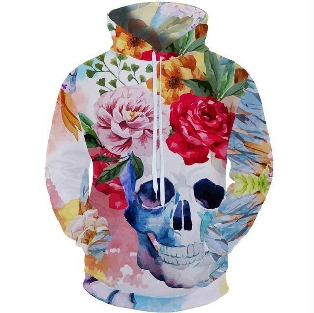 dc11cbc958d2 Cloudstyle 2018 High Street Style 3d Hoodies Sweatshirt Men Skull Hooded  Pullover Longsleeve Skeleton Flower Funny Plus Size 5XL